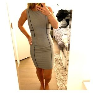 Gray, with black details, work dress